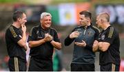 29 August 2021; Bohemians manager Keith Long, second from left, with, from left, first team player development coach Derek Pender, performance coach Philip McMahon and assistant manager Trevor Croly before the extra.ie FAI Cup second round match between Bohemians and Shamrock Rovers at Dalymount Park in Dublin. Photo by Stephen McCarthy/Sportsfile