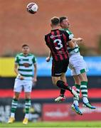 29 August 2021; Ronan Finn of Shamrock Rovers in action against Anto Breslin of Bohemians during the extra.ie FAI Cup second round match between Bohemians and Shamrock Rovers at Dalymount Park in Dublin. Photo by Eóin Noonan/Sportsfile