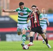 29 August 2021; Ronan Finn of Shamrock Rovers in action against Dawson Devoy of Bohemians during the extra.ie FAI Cup second round match between Bohemians and Shamrock Rovers at Dalymount Park in Dublin. Photo by Eóin Noonan/Sportsfile