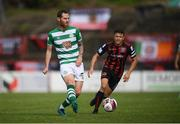 29 August 2021; Chris McCann of Shamrock Rovers in action against Keith Buckley of Bohemians during the extra.ie FAI Cup second round match between Bohemians and Shamrock Rovers at Dalymount Park in Dublin. Photo by Stephen McCarthy/Sportsfile