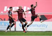 29 August 2021; Ali Coote, right, celebrates after scoring his side's first goal with Bohemians team-mates Georgie Kelly and Dawson Devoy, left,  during the extra.ie FAI Cup second round match between Bohemians and Shamrock Rovers at Dalymount Park in Dublin. Photo by Stephen McCarthy/Sportsfile