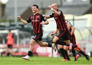 29 August 2021; Ali Coote of Bohemians celebrates with team-mate Georgie Kelly, right, after scoring his side's first goal during the extra.ie FAI Cup second round match between Bohemians and Shamrock Rovers at Dalymount Park in Dublin. Photo by Eóin Noonan/Sportsfile