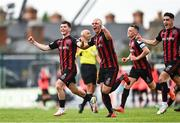 29 August 2021; Ali Coote of Bohemians celebrates with team-mates including Georgie Kelly, right, after scoring his side's first goal during the extra.ie FAI Cup second round match between Bohemians and Shamrock Rovers at Dalymount Park in Dublin. Photo by Eóin Noonan/Sportsfile