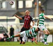 29 August 2021; Georgie Kelly of Bohemians is tackled by Roberto Lopes of Shamrock Rovers during the extra.ie FAI Cup second round match between Bohemians and Shamrock Rovers at Dalymount Park in Dublin. Photo by Eóin Noonan/Sportsfile