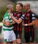 29 August 2021; Joey O'Brien of Shamrock Rovers with Ciarán Kelly and Georgie Kelly, right, of Bohemians during the extra.ie FAI Cup second round match between Bohemians and Shamrock Rovers at Dalymount Park in Dublin. Photo by Stephen McCarthy/Sportsfile