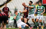 29 August 2021; Ronan Finn of Shamrock Rovers with Georgie Kelly of Bohemians during the extra.ie FAI Cup second round match between Bohemians and Shamrock Rovers at Dalymount Park in Dublin. Photo by Eóin Noonan/Sportsfile