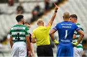 29 August 2021; Ronan Finn of Shamrock Rovers is show a red card by referee Neil Doyle during the extra.ie FAI Cup second round match between Bohemians and Shamrock Rovers at Dalymount Park in Dublin. Photo by Eóin Noonan/Sportsfile