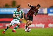 29 August 2021; Dawson Devoy of Bohemians in action against Dylan Watts of Shamrock Rovers during the extra.ie FAI Cup second round match between Bohemians and Shamrock Rovers at Dalymount Park in Dublin. Photo by Eóin Noonan/Sportsfile