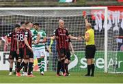 29 August 2021; Georgie Kelly of Bohemians receives a red card from referee Neil Doyle during the extra.ie FAI Cup second round match between Bohemians and Shamrock Rovers at Dalymount Park in Dublin. Photo by Stephen McCarthy/Sportsfile