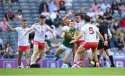 28 August 2021; Paudie Clifford of Kerry in action against Tyrone players, from left, Conor Meyler, Michael McKernan and Tiernan McCann, 5, during the GAA Football All-Ireland Senior Championship semi-final match between Kerry and Tyrone at Croke Park in Dublin. Photo by Stephen McCarthy/Sportsfile