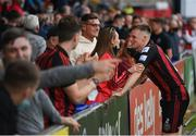 29 August 2021; Andy Lyons of Bohemians with girlfriend Annemarie Byrne following the extra.ie FAI Cup second round match between Bohemians and Shamrock Rovers at Dalymount Park in Dublin. Photo by Stephen McCarthy/Sportsfile