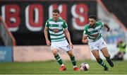29 August 2021; Roberto Lopes, right, and Dylan Watts of Shamrock Rovers during the extra.ie FAI Cup second round match between Bohemians and Shamrock Rovers at Dalymount Park in Dublin. Photo by Stephen McCarthy/Sportsfile