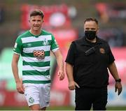 29 August 2021; Ronan Finn of Shamrock Rovers leaves the pitch after being sent off, accompanied by Derek Monaghan of Bohemians, during the extra.ie FAI Cup second round match between Bohemians and Shamrock Rovers at Dalymount Park in Dublin. Photo by Stephen McCarthy/Sportsfile