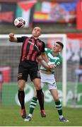 29 August 2021; Georgie Kelly of Bohemians in action against Gary O'Neill of Shamrock Rovers during the extra.ie FAI Cup second round match between Bohemians and Shamrock Rovers at Dalymount Park in Dublin. Photo by Stephen McCarthy/Sportsfile