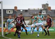 29 August 2021; Ronan Finn of Shamrock Rovers puts the ball across the box in the build up to his side's goal during the extra.ie FAI Cup second round match between Bohemians and Shamrock Rovers at Dalymount Park in Dublin. Photo by Stephen McCarthy/Sportsfile