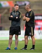 29 August 2021; Bohemians performance coach Philip McMahon and assistant manager Trevor Croly before the extra.ie FAI Cup second round match between Bohemians and Shamrock Rovers at Dalymount Park in Dublin. Photo by Stephen McCarthy/Sportsfile