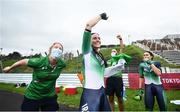 31 August 2021; Eve McCrystal, centre, and Katie George Dunlevy, right, of Ireland, celebrate with team doctor Katie Lydon, left, and physio David Greene, second from right, after winning gold in the Women's B Time Trial at the Fuji International Speedway on day seven during the Tokyo 2020 Paralympic Games in Shizuoka, Japan. Photo by David Fitzgerald/Sportsfile