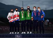 31 August 2021; Medalists, from left, Lora Fachie and Corrine Hall of Great Britain, silver, Katie George Dunlevy and Eve McCrystal of Ireland, gold, with, Louise Jannering and Anna Svaerdstroem of Sweden, bronze, during the medals ceremony following the Women's B Time Trial at the Fuji International Speedway on day seven during the Tokyo 2020 Paralympic Games in Shizuoka, Japan. Photo by David Fitzgerald/Sportsfile