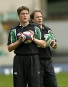 5 March 2004; Ireland out halves Ronan O'Gara, left, and David Humphreys during kicking practice at Twickenham Stadium, London, England. Picture credit; Brendan Moran / SPORTSFILE *EDI*