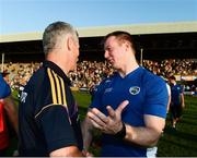 20 July 2013; Laois manager Justin McNulty with Wexford manager Aidan O'Brien at the end of the game. GAA Football All-Ireland Senior Championship Round 3, Wexford v Laois, Wexford Park, Wexford. Picture credit: David Maher / SPORTSFILE