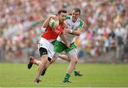 21 July 2013; Kevin McLoughlin, Mayo, in action against Shane Mulligan, London. Connacht GAA Football Senior Championship Final, Mayo v London, Elverys MacHale Park, Castlebar, Co. Mayo. Picture credit: Stephen McCarthy / SPORTSFILE