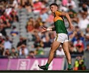 28 August 2021; David Clifford of Kerry reacts after picking up an injury during the GAA Football All-Ireland Senior Championship semi-final match between Kerry and Tyrone at Croke Park in Dublin. Photo by Piaras Ó Mídheach/Sportsfile