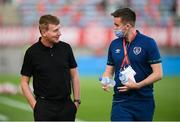 1 September 2021; Republic of Ireland manager Stephen Kenny, left, and Kieran Crowley, FAI communications executive, before the FIFA World Cup 2022 qualifying group A match between Portugal and Republic of Ireland at Estádio Algarve in Faro, Portugal. Photo by Stephen McCarthy/Sportsfile