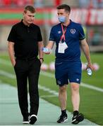 1 September 2021; Republic of Ireland manager Stephen Kenny and Kieran Crowley, FAI communications executive, before the FIFA World Cup 2022 qualifying group A match between Portugal and Republic of Ireland at Estádio Algarve in Faro, Portugal. Photo by Stephen McCarthy/Sportsfile