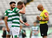 29 August 2021; Ronan Finn of Shamrock Rovers with referee Neill Doyle during the extra.ie FAI Cup second round match between Bohemians and Shamrock Rovers at Dalymount Park in Dublin. Photo by Eóin Noonan/Sportsfile