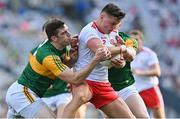 28 August 2021; Michael McKernan of Tyrone in action against David Moran, left, and Jason Foley of Kerry during the GAA Football All-Ireland Senior Championship semi-final match between Kerry and Tyrone at Croke Park in Dublin. Photo by Brendan Moran/Sportsfile