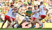 28 August 2021; Diarmuid O'Connor of Kerry in action against Tyrone players, from left, Michael McKernan, Ben McDonnell, Darragh Canavan and Frank Burns during the GAA Football All-Ireland Senior Championship semi-final match between Kerry and Tyrone at Croke Park in Dublin. Photo by Brendan Moran/Sportsfile