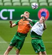 3 September 2021; James McClean, right, and Liam Scales during a Republic of Ireland training session at the Aviva Stadium in Dublin. Photo by Stephen McCarthy/Sportsfile