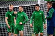 3 September 2021; Seamus Coleman with team-mates, Liam Scales, left, John Egan, right, and manager Stephen Kenny during a Republic of Ireland training session at the Aviva Stadium in Dublin. Photo by Stephen McCarthy/Sportsfile