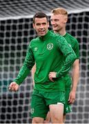 3 September 2021; Seamus Coleman and Liam Scales, right, during a Republic of Ireland training session at the Aviva Stadium in Dublin. Photo by Stephen McCarthy/Sportsfile