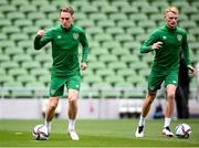 3 September 2021; Ronan Curtis, left, and Liam Scales during a Republic of Ireland training session at the Aviva Stadium in Dublin. Photo by Stephen McCarthy/Sportsfile