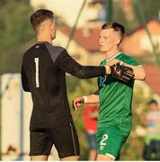3 September 2021; Andy Lyons, right, and Brian Maher of Republic of Ireland during the UEFA European U21 Championship Qualifier match between Bosnia & Herzegovina and Republic of Ireland at FF BH Football Training Centre in Zenica, Bosnia. Photo by Fedja Krvavac/Sportsfile