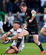 3 September 2021; Ian Madigan of Ulster gets to a loose ball ahead of Nick Tompkins of Saracens during the Pre-Season Friendly match between Ulster and Saracens at Kingspan Stadium in Belfast. Photo by Brendan Moran/Sportsfile