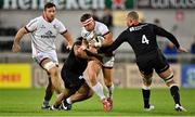 3 September 2021; Ian Madigan of Ulster is tackled by Billy Vunipola and Nick Isiekwe of Saracens during the Pre-Season Friendly match between Ulster and Saracens at Kingspan Stadium in Belfast. Photo by Brendan Moran/Sportsfile