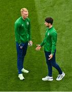 4 September 2021; Liam Scales, left, and Robbie Brady of Republic of Ireland before the FIFA World Cup 2022 qualifying group A match between Republic of Ireland and Azerbaijan at the Aviva Stadium in Dublin. Photo by Eóin Noonan/Sportsfile