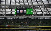 4 September 2021; A tribute to the late Tommy Connolly, Willie Curran, Willie O'Callaghan on the big screen during the FIFA World Cup 2022 qualifying group A match between Republic of Ireland and Azerbaijan at the Aviva Stadium in Dublin. Photo by Stephen McCarthy/Sportsfile