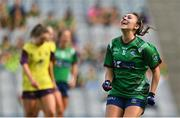 5 September 2021; Lucy Power of Westmeath celebrates at the final whistle of the TG4 All-Ireland Ladies Intermediate Football Championship Final match between Westmeath and Wexford at Croke Park in Dublin. Photo by Brendan Moran/Sportsfile