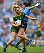 5 September 2021; Orlagh Lally of Meath is tackled by Hannah Tyrrell of Dublin during the TG4 All-Ireland Ladies Senior Football Championship Final match between Dublin and Meath at Croke Park in Dublin. Photo by Piaras Ó Mídheach/Sportsfile