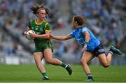 5 September 2021; Emma Duggan of Meath in action against Leah Caffrey of Dublin during the TG4 All-Ireland Ladies Senior Football Championship Final match between Dublin and Meath at Croke Park in Dublin. Photo by Brendan Moran/Sportsfile