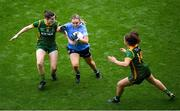 5 September 2021; Martha Byrne of Dublin in action against Bridgetta Lynch, left, and Emma Duggan of Meath during the TG4 All-Ireland Ladies Senior Football Championship Final match between Dublin and Meath at Croke Park in Dublin. Photo by Stephen McCarthy/Sportsfile