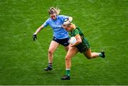 5 September 2021; Vikki Wall of Meath in action against Martha Byrne of Dublin during the TG4 All-Ireland Ladies Senior Football Championship Final match between Dublin and Meath at Croke Park in Dublin. Photo by Stephen McCarthy/Sportsfile