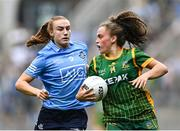 5 September 2021; Emma Duggan of Meath is tackled by Lauren Magee of Dublin during the TG4 All-Ireland Ladies Senior Football Championship Final match between Dublin and Meath at Croke Park in Dublin. Photo by Piaras Ó Mídheach/Sportsfile
