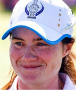 6 September 2021; Leona Maguire of Team Europe during an interview after winning her individual match on day three of the Solheim Cup at the Inverness Club in Toledo, Ohio, USA. Photo by Brian Spurlock/Sportsfile