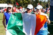 6 September 2021; Leona Maguire of Team Europe poses with fans after winning her individual match on day three of the Solheim Cup at the Inverness Club in Toledo, Ohio, USA. Photo by Brian Spurlock/Sportsfile