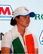 6 September 2021; Leona Maguire of Team Europe during a press conference on day three of the Solheim Cup at the Inverness Club in Toledo, Ohio, USA. Photo by Brian Spurlock/Sportsfile