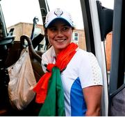 6 September 2021; Leona Maguire of Team Europe boards the team bus after winning the Solheim Cup on day three of the Solheim Cup at the Inverness Club in Toledo, Ohio, USA. Photo by Brian Spurlock/Sportsfile